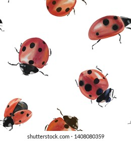 Seamless pattern with ladybug in watercolor. Ladybug for design. Ladybugs isolated on white background. Watercolor painting.
