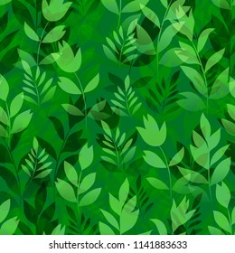 Seamless Pattern, Landscape, Summer or Spring Meadow, Green Grass, Leaves and Flowers Silhouettes, Tile Natural Floral Background.