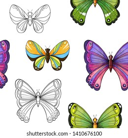 Seamless pattern with large tropical multi-colored butterfly. Hand drawing.  Illustration.