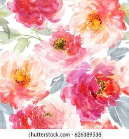 Seamless pattern with large watercolor flowers by peonies.