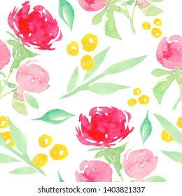 Seamless pattern with large watercolor peonies. Watercolor floral pattern and seamless background. Hand painted.