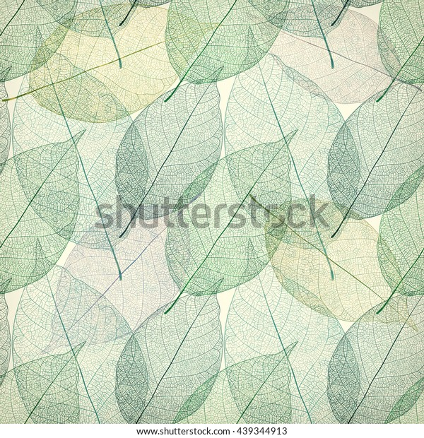 Seamless pattern with leaf, green leaves background in vintage style.