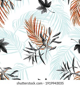 Seamless pattern of leaf print with effect in black and white gradient with a single color to give luminosity Ideal for men's shirts and shorts.