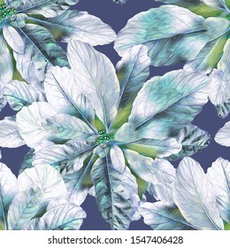 Seamless Pattern of Leaves. Artistic Floral Background. Hand Painted Illustration. Watercolor Design Template.
