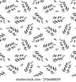 Seamless pattern with leaves on a white background.Hand-drawn in the software.Suitable for making background,fabric, paper, cover, wrapper, wallpaper, postcard, web page, website background.