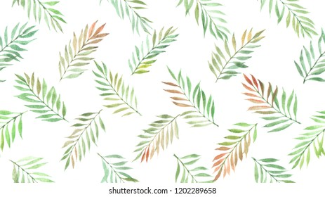 seamless pattern with leaves painted by watercolor