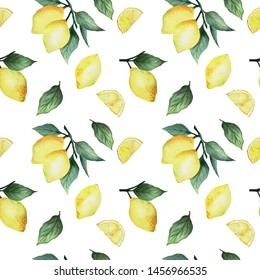 Seamless pattern lemon, on a colored background. Summer modern design