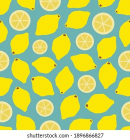 Seamless pattern with lemons in a simple style. Fruit background. Fruit pattern.