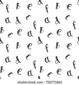 Seamless pattern with letters of the alphabet written with a brush. For design, print, packing, textile and more