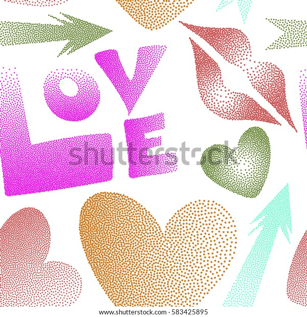 Seamless pattern with lips, hearts, arrows. Love symbols in pink, orange and magenta colors on a white background. Comic in pop art retro style with dots. Abstract pattern for textile, fabric, clothes