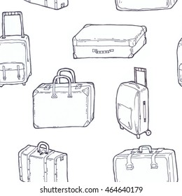 Seamless pattern luggage line art, isolated pictures of bags and suitcases