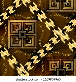 Seamless pattern luxury design. Background with houndstooth elements, greek meanders, chains and watercolor effect. Textile print for bed linen, jacket, package design, fabric and fashion concepts.