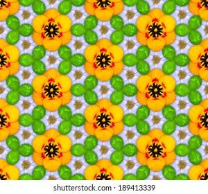 Seamless pattern made of flowers and shamrocks