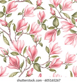 Seamless pattern of magnolia. Vintage bouquet of blooming roses. Watercolor botanical illustration of a spring flowers. Postcard for congratulations, wedding or invitation. Textile design of flowers.