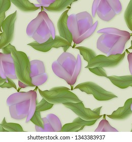 Seamless pattern with magnolias for print, greeting cards, advertising.
