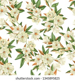 Seamless pattern with magnolias, watercolor drawing