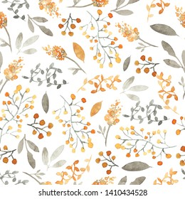Seamless pattern with meadow flowers, berries, branches. Orange, gray colors. White background.