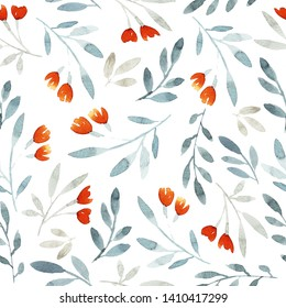 Seamless pattern with meadow flowers, branches. Orange, paleblue colors. White background.