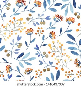 Seamless pattern with meadow flowers, branches. Orange, blue colors. White background.