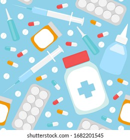 Seamless pattern of medications. Blue medical background