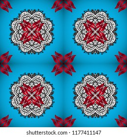 Seamless pattern mehndi floral lace of buta decoration items on blue, red and white colors. Floral wedding decorative elements.