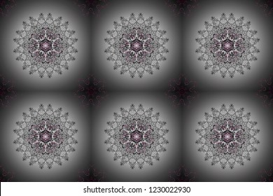 Seamless pattern mehndi floral lace of buta decoration items on gray, neutral and black colors. Raster floral wedding decorative elements.