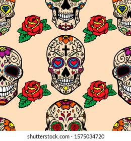 Seamless pattern with mexican sugar skulls and roses. Design element for poster, card, banner, clothes decoration.