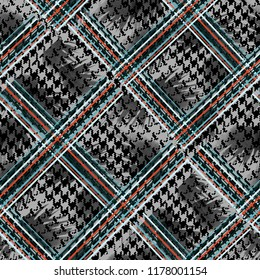 Seamless pattern mixed design. Houndstooth background with tartan lines and watercolor effect. Textile print for bed linen, jacket, package design, fabric and fashion concepts.