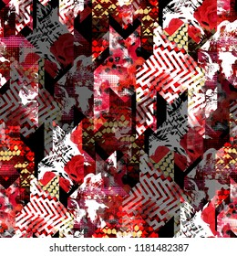 Seamless pattern mixed design. Patchwork background with houndstooth elements, roses and watercolor effect. Textile print for bed linen, jacket, package design, fabric and fashion concepts.