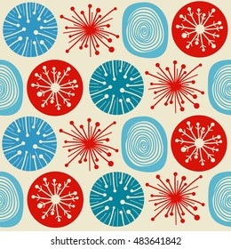 Seamless pattern in modern Scandinavian style. background of north nature.
