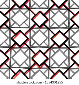 Seamless pattern. Modern stylish texture. Repeating geometric black, red and grey tiles with squares and rhombuses