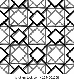 Seamless pattern. Modern stylish texture. Repeating geometric black and grey tiles with squares and rhombuses