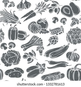 Seamless pattern with monochrome decorative vegetables.