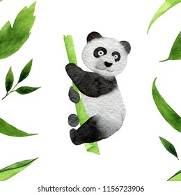 Seamless pattern of monochrome hand-drawn funny pandas watercolor illustration isolated on a white  background. Useful for child book, wrap, textile, postcard, diary, journal, blog, children design