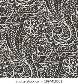 Seamless pattern with monochrome Paisley print.  Hand-drawn illustration.