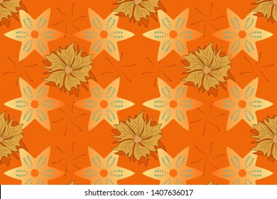 Seamless pattern morrocan ornament. Black, yellow and orange stained glass vitrage. Islamic oriental background with abstract flowers. Floral textile print.