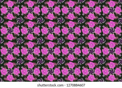 Seamless pattern morrocan ornament. Floral textile print. Gray, pink and violet stained glass vitrage. Islamic raster oriental background with abstract flowers.