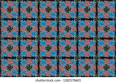 Seamless pattern morrocan ornament. Islamic raster oriental background with abstract flowers. Pink, black and blue stained glass vitrage. Floral textile print.