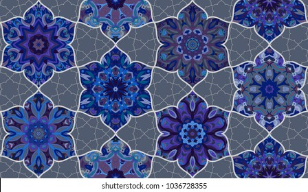 Seamless pattern morrocan vitrage ornament. Floral textile print. Islamic  design. Oriental background with abstract flowers. Stained glass vitrage.