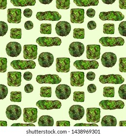Seamless pattern with moss pieces. Small moss stones on light green background. Camouflage fabric or textile