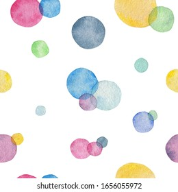 Seamless pattern of multi-colored watercolor circles intersecting each other on a white background