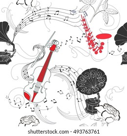 Seamless pattern with music instruments, flowers  and gramophone.Hand drawn sketches old record player.  illustration