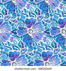Seamless pattern. Natural silk cloth with flowers of handmade batik image.