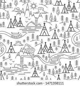 Seamless pattern nature travel theme. Mountains and Tepee, pine tree and waterfall landscape. Indian Tepee Camping map. Flat line style pattern for camping.  illustration.