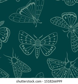Seamless pattern. Night butterflies. Exotic moths. Midnight green. Color trend palette. Shade of green. Fashion color.