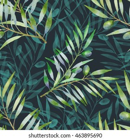 seamless pattern with olive branch watercolor. Vegetable background in hand drawn style.