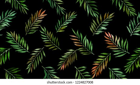 seamless pattern with olive leaves on black background painted by watercolor