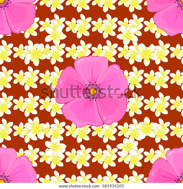 Seamless pattern on a brown background. Pattern with many cute flowers. Watercolor painting of abstract motley flowers.