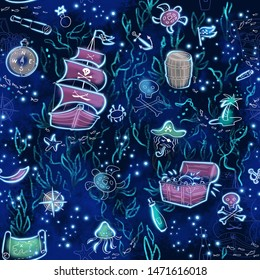 Seamless pattern on the theme of children's ideas about pirate campaigns and their treasures.