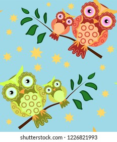seamless pattern on the theme of family and nature. A family of owls sitting on a tree branch among flowers